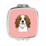 Carolines Treasures BB1224SCM Checkerboard Pink Cavalier Spaniel Compact Mirror 2.75 x 3 x .7.6cm .
