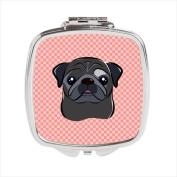 Carolines Treasures BB1263SCM Checkerboard Pink Black Pug Compact Mirror 2.75 x 3 x .7.6cm .