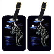 Carolines Treasures 7060BT Moonlight Black Great Dane Luggage Tags Pack - 2