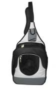 Pet Life B35GYMD Single Strap Over-The-Shoulder Navigation Hands Free Backpack And Front Pack Pet Carrier Grey - Medium