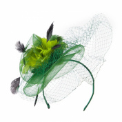 Multi Coloured Feather Fascinator with Circle Shaped Net - Green