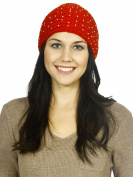 Simplicity Crochet Pearl Headband Knit Hair Band Ear Warmer Headwrap, Red