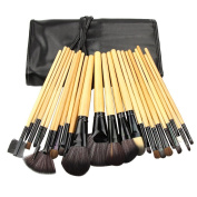 KanCai® 24pcs Professional Cosmetic Brush Kits Wooden Makeup Brushes Set Tools With Balck Bag