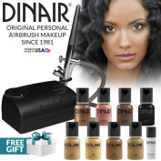 Dinair Airbrush Makeup Kit Personal Professional - Tan Shades 4pc Colair Foundation Plus 4pc Bonus Glamour Colours (Shimmer, Shadow/Brow, Blush, Eye Liner) & Concealer
