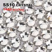 Perfect Summer 1440pcs DIY Nail Art Designs Sets Mix-sizes Clear Crystal Rhinestones Flatback Gems Diamond Decorations 2.9mm