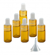 Grand Parfums 3ml Amber Glass Dropper Bottles with Gold Caps and White Bulb for Essential Oil, Serums, Makeups
