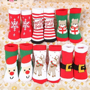 New! 6 Pairs Kids Anti Slip Winter Baby Socks Christmas Thick Terry Baby Boy and Baby Girl Socks Toddler's Socks Infant Wear