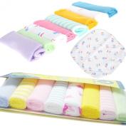 Cren® 8pcs Newborn Baby Soft Cotton Bath Towels Handkerchiefs Bandana Drool Bibs Washcloth Bathing Feeding Wipe Cloth, 22cm×22cm/8.66inch*8.66inch