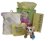 Baby Shower Set - Bib - Plush Blanket and Doggy - Gift Bag - Tissue