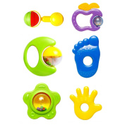 Vktech® 6X New Plastic Hand Jingle Shaking Bell Rattle Toddler Music Toy