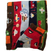 Multi Colour Plush Baby Blanket Daddy's Little Driver Car Blues Red Green
