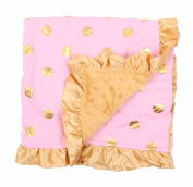 Baby Minky Receiving Blanket - 80cm x 80cm - Cotton Polyester - Pink with Gold Dots