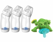 Playtex VentAire Wide Neck 270ml Bottles (3 Count) with WubbaNub Infant Soothie Pacifier