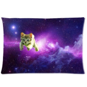 Tt-shop Soft Zippered Pillowcase Pillow case Cover 20*80cm (One Side) Lovely Cat In The Purple Sky Universe Galaxy Pattern Fashion Design