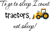 To go to sleep I count tractors, not sheep (PRINTED tractor) cute inspirational home vinyl wall quotes decals sayings art lettering