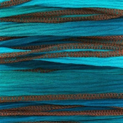 Ocean Blues Handmade Silk Ribbon - Mixed Light and Dark Blue Blend with Brown Edges