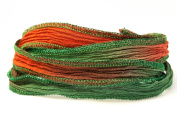 Christmas Handmade Silk Ribbon - Christmas Red, Garnet and Kelly Green with Bright Green Metallic Edges