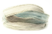 Glacier Blue Handmade Silk Ribbon - Powder Blue, Dove Grey and White Blend with Silver Metallic Edges