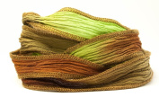 Marsh Coffee Handmade Silk Ribbon - Chocolate Brown, Light Brown and Moss Green with Dark Brown Edges