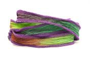 Jewelled Magic Handmade Silk Ribbon - Burgundy, Emerald Green, Lime Green Blend with Purple Edges