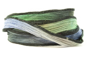 Laguna Handmade Silk Ribbon - Blue, Green and Black Blend with Black Edges
