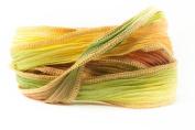 Fall Season Handmade Silk Ribbon - Red, Gold and Green Blend