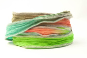 Spicy Jungle Handmade Silk Ribbon - Tiffany Blue, Coral, Lime and Dove Grey