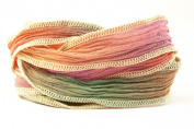 Santa Fe Handmade Silk Ribbon - Teal, Purple and Brick Red, Creme Edges