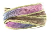 Anchient Amethyst Handmade Silk Ribbon - Purple, Khaki, Olive Green with Khaki Edges