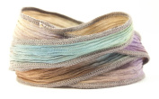 Desert Prism Handmade Silk Ribbon - Brown, Light Blue, Purple with Grey Edges