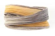 Terracotta Grey Handmade Silk Ribbon