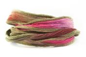 Paris Pink Handmade Silk Ribbon - Dark Pink, light pink, khaki blend with khaki edges