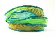 Caribbean Tide Handmade Silk Ribbon - Turquoise, Lime, Light Mocha and Dark Turquoise Edges