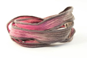 Stormy Pink Handmade Silk Ribbon - Pink-grey Blend with Grey Edges