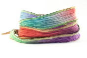 Hawaiian Sunset Handmade Silk Ribbon - Red, Light Blue, Powder Blue, Purple with Multi-coloured Edges