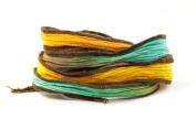 Fierce Sunrise Handmade Silk Ribbon - Blue-green, Gold, Orange Brown