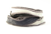 Storm Handmade Silk Ribbon - Black, Grey, Light Grey, White