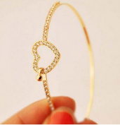 Elegant Womens 9K Yellow Gold Filled CZ Heart Shape Cuff Bracelet Bangle Gift