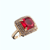 Rectangle shaped copper rings /girls red stone rings with gold plating 14cm