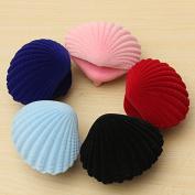 Pink Shell Shape Velvet Ring Earrings Pendant Gift Box Jewellery Case by 24/7 store
