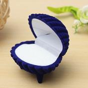 Royal Blue Shell Shape Velvet Ring Earrings Pendant Gift Box Jewellery Case by 24/7 store