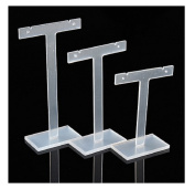 3Pcs Clear T Shape Earrings Display Stand Plastic Jewellery Display Holder by 24/7 store