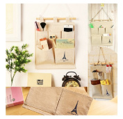 5 Pocket Eiffel Tower Storage Bag Home Wall Hanging Organiser by 24/7 store