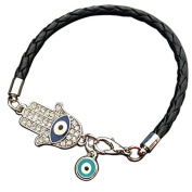 Onairmall Fashion Jewellery Filigree Hand of Fatima Evil Eye Leather Braided Charm Bracelet Black