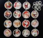 15 VINTAGE SANTA CLAUS Flat Bottle Cap Necklaces for Birthday, Party Favours Set A1