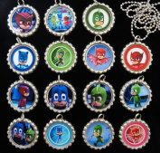 15 PJ MASKS Flat Bottle Cap Necklaces for Birthday, Party Favours, Bag Fillers