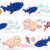 cute pink-white striped whale shark walrus deco tape