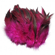 KING DO WAY 100pcs Fluffy Fashion Rooster Feather Fringe Decoration Home Craft DIY 15cm - 20cm US rose red