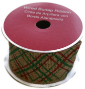 Holiday Christmas Red and Green Criss-Cross Wired Burlap Ribbon Spool - 6.4cm x 4.6m