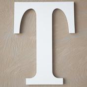 "The Lucky Clover Trading ""T"" Wood Block Letter, White"
